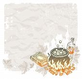 Halloween vector vintage background with hand drawn magic objects