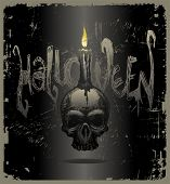 Halloween vector illustration with hand drawn skull & candle