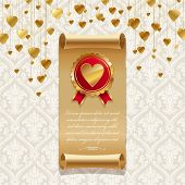 Vector valentines illustration with vintage scroll & golden badge with hearts