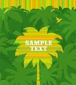 Palmera tropical rayas Vector & Colibrí vuelo sobre un fondo de bosque verde de la selva