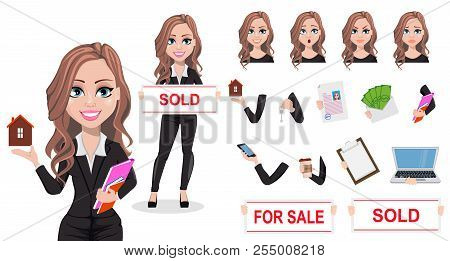 poster of A Real Estate Agent Cartoon Character. Beautiful Realtor Woman. Cute Business Woman. Pack Of Body Pa