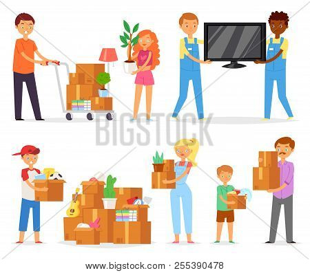 poster of People Moving Vector Family With Kids Packing Boxes Or Packages To Move To New Apartment Illustratio