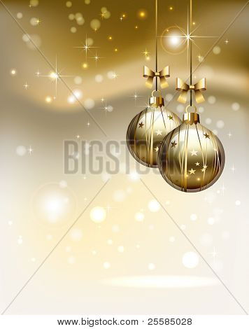 poster of glimmered Christmas background with two  evening balls
