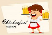 Greeting Card For Oktoberfest, Beer Festival. Funny Woman, Cheerful Cartoon Character Holding Two Tr poster