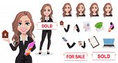 A Real Estate Agent Cartoon Character. Beautiful Realtor Woman. Cute Business Woman. Pack Of Body Pa poster