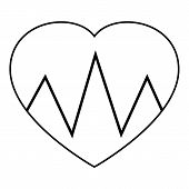 Cardiogram Heart Icon. Outline Illustration Of Cardiogram Heart Icon For Web poster