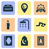 Religion Icons Set With Islam, Namaz, Ghusl And Other Body Cleansing Elements. Isolated  Illustratio poster