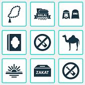 Religion Icons Set With People, Maghrib, Zakat And Other No Alcohol  Elements. Isolated Vector Illus poster