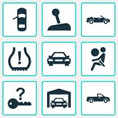 Automobile Icons Set With Cabriolet, Gear Lever, Car And Other Tire Pressure Low Elements. Isolated  poster
