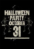 Halloween Party Typographical Vintage Grunge Style Poster. Retro Vector Illustration. poster