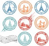 City stamps collection with symbols: Paris (Eiffel Tower), London (London Bridge), Rome (Colosseum),