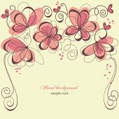 Romantic invitation floral panel