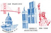 USA famous cities architecture and landmarks sketches: New York (Statue of Liberty), San Francisco (