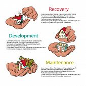 Business Concept Of Recovery, Development, Maintenance. Hands Holding House. Disaster Recovery Conce poster