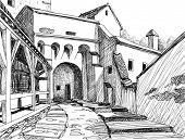 Medieval citadel sketch; this is the main entrance in the Schasburg citadel where Vlad Dracul (the f