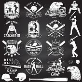 Set Of Baseball Or Softball Club Badge With Design Element. Vector. Concept For Shirt Or Logo, Print poster
