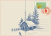 Christmas card winter nature scene. Vector