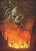 Burning Graveyard In The Skull Cave, Digital Art Style, Illustration Painting poster