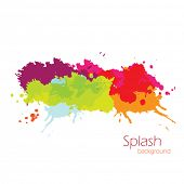 Vector colorful grunge banner with ink splashes