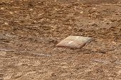 Detail Of A Home Plate In A Baseball (softball) Dusty Field, With Copyspace poster
