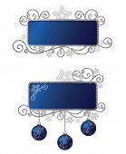 Isolated blue & silver Christmas frame