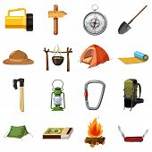 Camping Items Icons Set. Cartoon Illustration Of 16 Camping Items Icons For Web poster