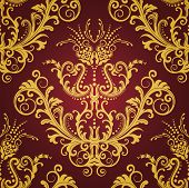 Red and gold floral vintage seamless wallpaper. This image is a vector illustration.