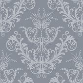 Seamless luxury silver floral vintage gothic wallpaper
