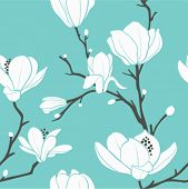 pic of magnolia  - seamless vector pattern with magnolia - JPG