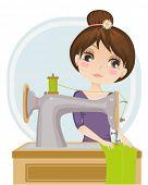 ilustração em vetor de uma costureira no trabalho