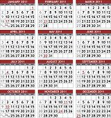 Classic 2011 calendar template (raster version)