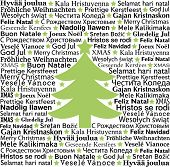 Merry Christmas in different languages, typographic background