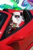Santa Claus ACID TRIP. Santa Claus drives his Red Hot Rod Car while high as a kite on LSD or MAGIC M poster