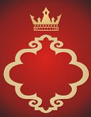 Abstract Gold Crown On Red Background