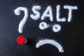 Salt Scattered On Black Surface. Drawn Word- Salt, Question Mark And Sad Face. Concept- Diet, Harm T poster