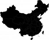 foto of cartographer  - Black China map with division borders - JPG