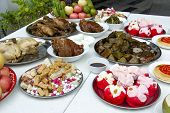 Set Of Favourite Food For Chinese Ghost And Spirit Festival Savory Food, Fruits And Sweet For Ancest poster