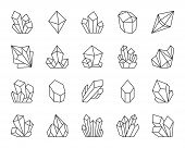 Jewel Quartz Crystal Thin Line Icon Set. Outline Sign Of Treasure Gem. Mineral Linear Icons Includes poster