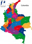 Map of the Republic of Colombia with the regions colored in bright colors and the main cities.