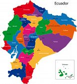 Map of the Republic of Ecuador with the regions colored in bright colors and the main cities.