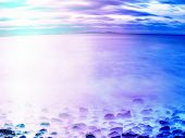 Romantic Atmosphere Of Sea. Peaceful Morning Sea Level With Stones In Peaceful Sea Level. . Hipster  poster