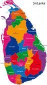Map of the Democratic Socialist Republic of Sri Lanka with the districts colored in bright colors