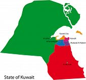 Map of the State of Kuwait with the governorates colored in bright colors
