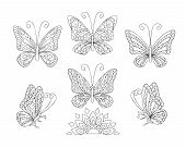 Coloring Page With Set Of Six Butterflies For Adult Antistress Coloring Book, Album, Wall Mural, Art poster