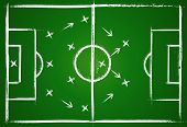 Football teamwork strategy. Illustration game. Vector background.