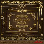 Gold calligraphic design elements vol2. Vector design corners, bars, swirls, frames and borders. Hand written retro feather symbols.