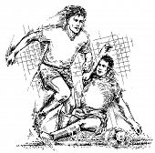Drawing of soccer players