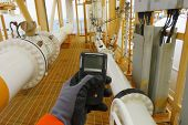 Personal H2s Gas Detector,check Gas Leak. Safety Concept Of Safety And Security System On Offshore O poster