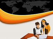 Vector background with colorful wave and business people working