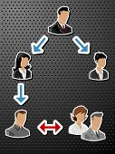 Set of vector business people Labels / stickers on black background